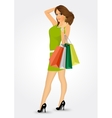 woman with shooping bags vector image vector image