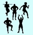 body building and sport action silhouette vector image