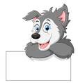 Cute wolf cartoon with blank sign vector image
