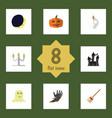Flat icon celebrate set of broom cranium zombie vector image