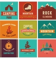 Hiking camp badges icons backgrounds and vector image