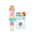 Hotel Professional Maid Doing Laundry vector image