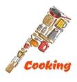 Kitchen ax hatchet emblem made of cooking utensils vector image