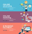 Online business banners set with advertising vector image
