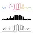 Louisville skyline linear style with rainbow vector image