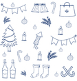 Hand draw object doodle set christmas vector image