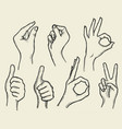 set of four hands vector image