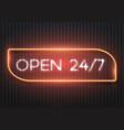 open 24 hours glowing neon sign vector image