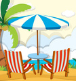 Chairs and umbrella on the beach vector image