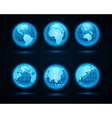 Globe earth night light icons vector image
