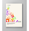 Colorful hands Abstract border background vector image