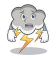 afraid thunder cloud character cartoon vector image