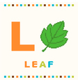 alphabet for children letter l and a leaf vector image