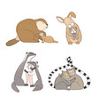 collection of hugging cartoon animals isolated on vector image