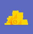 gold coins stack dollar symbol money pile cartoon vector image