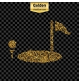 Gold glitter icon of golf isolated on vector image
