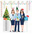 happy colleagues in santa hat with champagne vector image