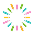 Pencil round frame Empty template Isolated vector image