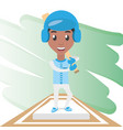pretty woman athlete playing baseball vector image