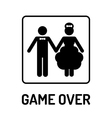 Cartoon Funny Wedding Symbol - Game Over vector image