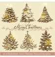 Golden Christmas trees vector image