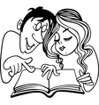 Young couple reading a book vector image