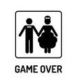Cartoon Funny Wedding Symbol - Game Over vector image