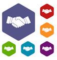 handshake icons set vector image