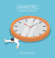 isometric businessman is under the big clock vector image