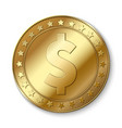 realistic 3d gold dollar coin isolated on vector image