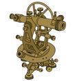 Vintage brass theodolite vector image