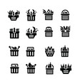 shopping cart with foods icons vector image