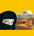 landscape - an arab girl on the background of the vector image