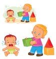 little baby crying while an older brother wants to vector image
