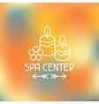 Spa center label on blurred background vector image vector image