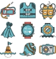 Diving icons flat design collection vector image