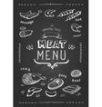 Meat menu Set of meat symbols beef pork vector image