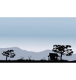 Silhouette of hut with trees vector image