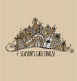 Seasons Greetings Christmas Banner Doodle vector image