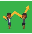 Two business women holding growth graph vector image