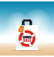 paper bag with summer sale and tag colorful vector image