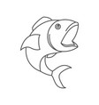 sketch silhouette of open mouth fish vector image