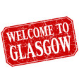 welcome to glasgow red square grunge stamp vector image