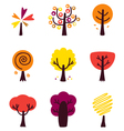 Colorful Autumn Trees set isolated on white vector image vector image