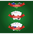 casino elements ribbon playing cards dices and vector image