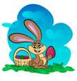 funny bunny with big egg vector image