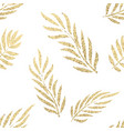golden tropical leaves seamless pattern vector image