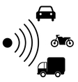 Speed road radar icon Notice traffic symbol vector image