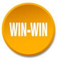 win-win orange round flat isolated push button vector image