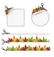 sscissors cut sticker Autumn leaf vector image vector image